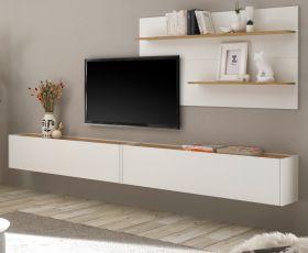 Wohnkombination Center in weiß und Wotan Eiche Wohnwand 3-teilig 300 x 180 cm mit XXL-Board und Wandpaneel