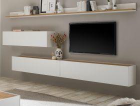Wohnkombination Center in weiß und Wotan Eiche Wohnwand 5-teilig mit XXL-Board 340 x 180 cm