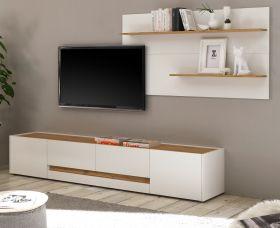 Wohnkombination Center in weiß und Wotan Eiche Wohnwand 2-teilig 300 x 180 cm mit XL-Board und Wandpaneel