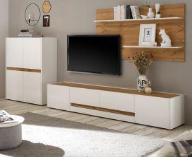 Wohnkombination Center in weiß und Wotan Eiche Wohnwand 3-teilig 360 x 180 cm mit XL-Board