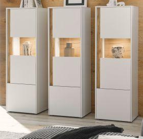 Schrank Set 3-teilig Center in weiß und Wotan Eiche Wohnkombination 3 x Vitrine 190 x 155 cm