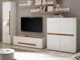 Wohnwand Center in weiß und Wotan Eiche Wohnkombination 5-teilig 350 x 197 cm