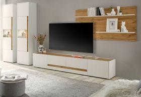 Wohnwand Center in weiß und Wotan Eiche Wohnkombination 4-teilig 400 x 197 cm mit XL-Board
