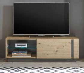 TV-Lowboard Louna in Eiche Artisan und Graphit grau TV-Unterteil 138 x 46 cm