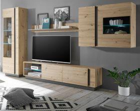 Wohnwand Louna in Eiche Artisan und Graphit grau Wohnkombination 4-teilig 315 x 194 cm Schrankwand