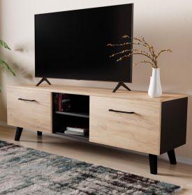 TV-Lowboard FD-Don in Eiche Gold und schwarz TV Board skandinavisch 140 x 49 cm
