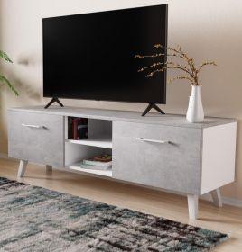 TV-Lowboard FD-Don in Stone Design grau und weiß TV Board skandinavisch 140 x 49 cm