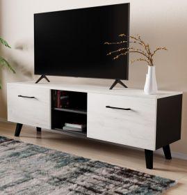 TV-Lowboard FD-Don in Pinie weiß und schwarz TV Board skandinavisch 140 x 49 cm
