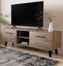 TV-Lowboard FD-Don in Eiche Lefkas und schwarz TV Board skandinavisch 140 x 49 cm