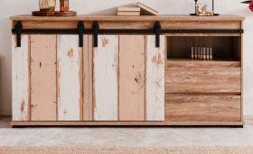 Sideboard Marrakesch in Eiche Valhalla und Milford Kiefer Kommode mit wendbaren Schiebetüren 180 x 87 cm