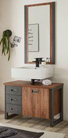 Badmöbel Set 2-teilig Auburn in Eiche Stirling und Matera grau Badkombination Waschbeckenunterschrank und Spiegel 81 x 205 cm