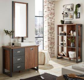 Badmöbel Set 4-teilig Auburn in Eiche Stirling und Matera grau Badkombination MIT Waschbecken 201 x 205 cm