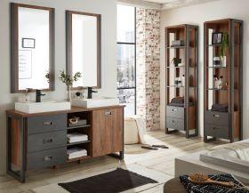 Badmöbel Set 7-teilig Auburn in Eiche Stirling und Matera grau Doppelwaschtisch inkl. 2 x Waschbecken 277 x 205 cm Badkombination