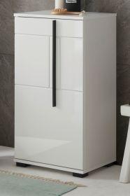 Badezimmer Kommode Design-D in weiß Hochglanz Badschrank 45 x 87 cm Unterschrank