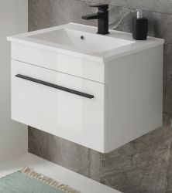 Waschbeckenunterschrank MIT Waschbecken Design-D in weiß Hochglanz Waschtisch Set hängend 60 x 44 cm