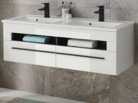 Doppelwaschtisch Design-D in weiß Hochglanz Waschtisch Set hängend inkl. Doppelwaschbecken 120 x 43 cm