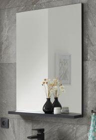 Badezimmer Spiegel Design-D in schwarz Badspiegel mit Ablage 60 x 85 cm