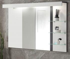 Badezimmer Spiegel Design-D in weiß Hochglanz und schwarz Badspiegel mit Ablage und LED Beleuchtung 120 x 85 cm