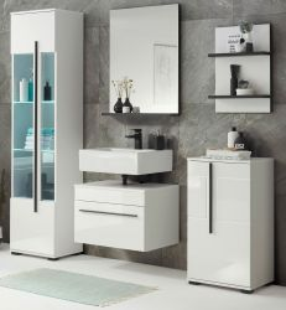 Badmöbel Set Design-D in weiß Hochglanz und schwarz Badkombination 5-teilig 170 x 200 cm