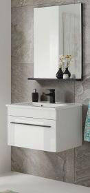 Badmöbel Set Design-D in weiß Hochglanz und schwarz Badkombination MIT Waschbecken 60 x 200 cm