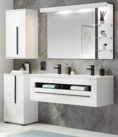 Badmöbel Set Design-D in weiß Hochglanz und schwarz Badkombination MIT Doppelwaschbecken und LED Beleuchtung 175 x 200 cm