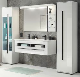 Badmöbel Set Design-D in weiß Hochglanz und schwarz Badkombination MIT Doppelwaschbecken und LED Beleuchtung 230 x 200 cm