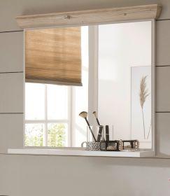 Badezimmer Spiegel Rovola in Pinie weiß / Oslo Pinie Landhaus Badspiegel mit Ablage 80 x 72 cm