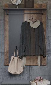 Garderobenpaneel Otis in Eiche Tabak und Matera grau Wandgarderobe 79 x 115 cm