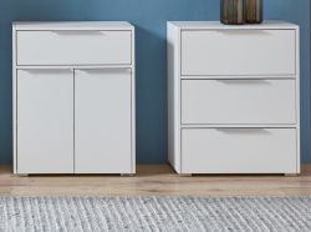 Badezimmer 2 x Kommode in weiß Badmöbel Set 2-teilig Badmöbel Unterschrank je 61 x 76 cm Mehrzweckschrank