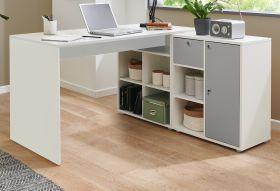 Schreibtisch in weiß und grau Winkelschreibtisch abschließbar für Homeoffice und Büro 138 x 138 cm Eckschreibtisch