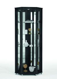 Eckvitrine Glasvitrine schwarz mit Spiegelrückwand und Beleuchtung