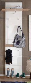 Garderobenpaneel SetOne in Hochglanz weiß und Eiche San Remo Flurgarderobe 60 x 195 cm