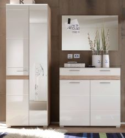 Garderobenkombination SetOne in Hochglanz weiß und Eiche San Remo Garderobenset 3-tlg. 173 x 195 cm