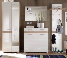 Garderobe SetOne 4-teilig in weiß Hochglanz und Eiche 222 x 195 cm