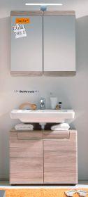 Badmöbel Set Malea 2-teilig in Eiche San Remo mit Spiegelschrank und Waschbeckenunterschrank