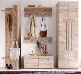 Garderobe Malea 5-teilig in Eiche San Remo Garderobenset mit Schuh- / Garderobenschrank 238 x 191 cm