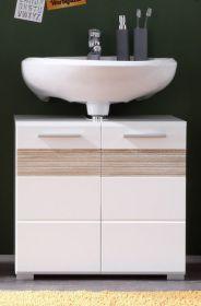 Waschbeckenunterschrank Mezzo Hochglanz weiß, mit Eiche hell (60x56 cm)