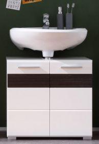 Waschbeckenunterschrank Badmöbel Mezzo weiß Hochglanz mit Eiche dunkel