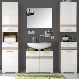 Badkombination SetOne in Hochglanz weiß und Eiche San Remo Badmöbel Set 5-teilig Badezimmer 159 x 182 cm
