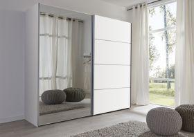 Schwebetürenschrank Kleiderschrank Dekor weiß Spiegeltür Breite 202 cm