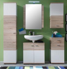 Badmöbel Campus komplett Set 5-teilig in Eiche San Remo hell und weiß Badkombination 173 x 189 cm mit Spiegelschrank
