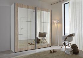 Schwebetürenschrank Kleiderschrank Dekor weiß Eiche Spiegelglas Breite 202 cm